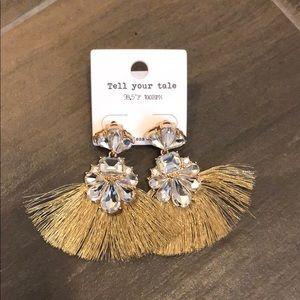 Rhinestone Gold Tassel Earrings